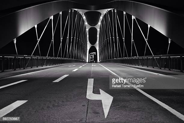 Low Angle View Of Bridge At Night Against Clear Sky