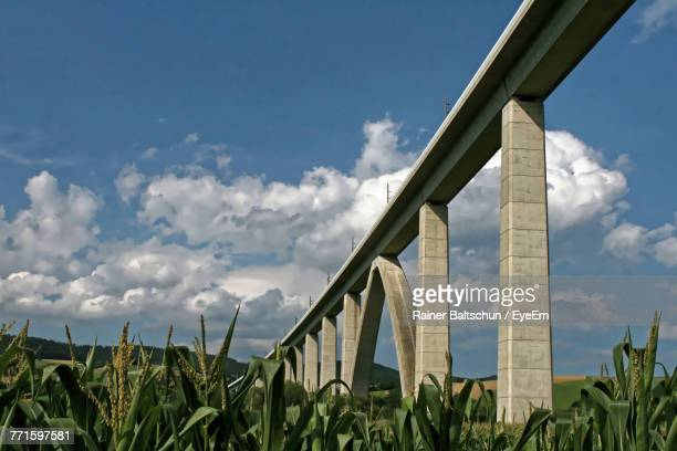 Low Angle View Of Bridge Over Field Against Sky