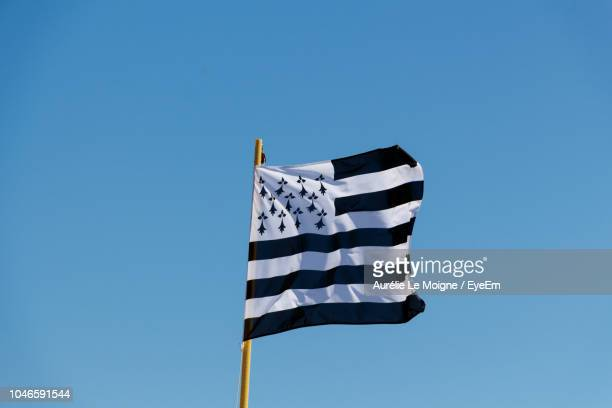 low angle view of brittany flag waving against clear blue sky - bretagne photos et images de collection