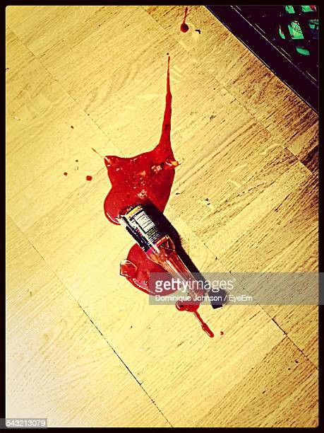 Low Angle View Of Broken Ketchup Bottle At Home