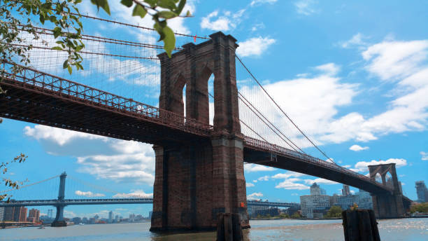 Low Angle View Of Brooklyn Bridge Against Cloudy Sky