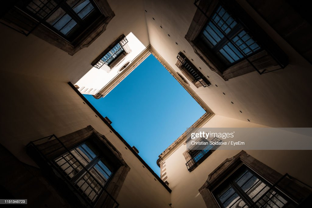 Low Angle View Of Building Against Clear Sky : Stock-Foto