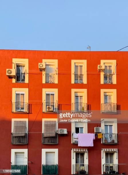 low angle view of building against clear sky - madrid stock pictures, royalty-free photos & images