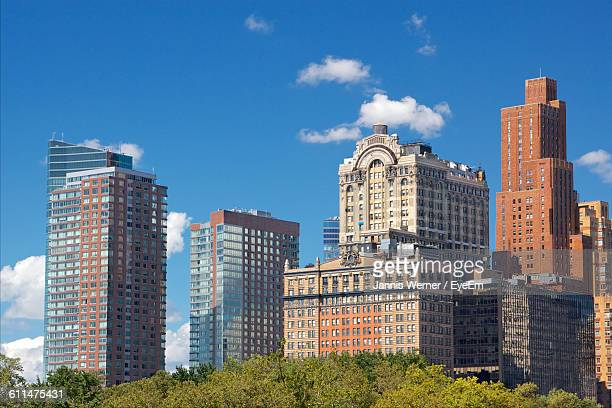 Low Angle View Of Buildings Against Sky In Battery Park
