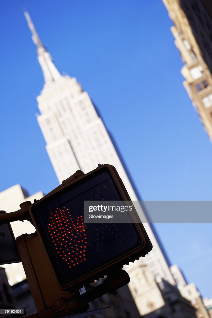 Low angle view of buildings, Empire State Building, Manhattan, New York City, New York State, USA : Stock Photo