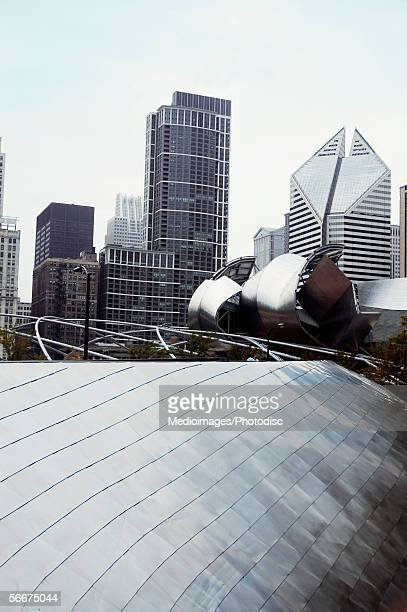 Low angle view of buildings in a city, Aon Center, Two Prudential Plaza, Chicago, Illinois, USA