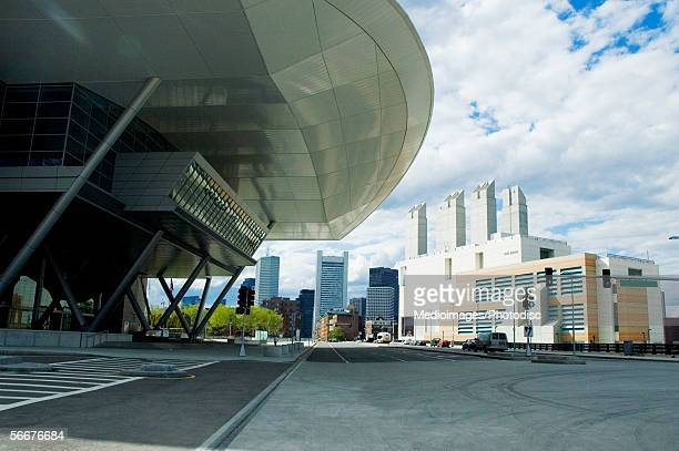 low angle view of buildings in a city, boston convention and exhibition center, boston, massachusetts, usa - convention center stock pictures, royalty-free photos & images