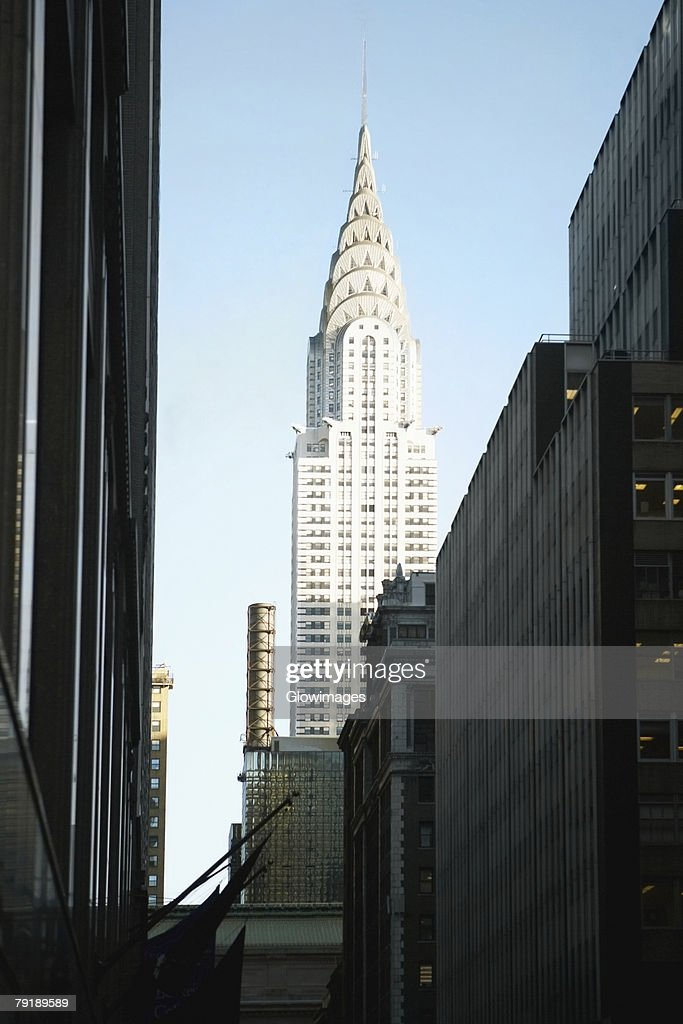 Low angle view of buildings in a city, Chrysler Building, Manhattan, New York City, New York State, USA : Stock Photo