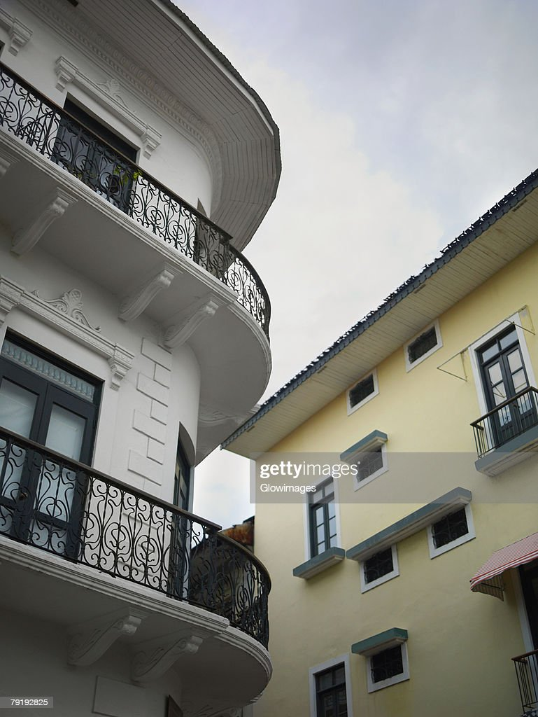 Low angle view of buildings in a city, Old Panama, Panama City, Panama : Foto de stock