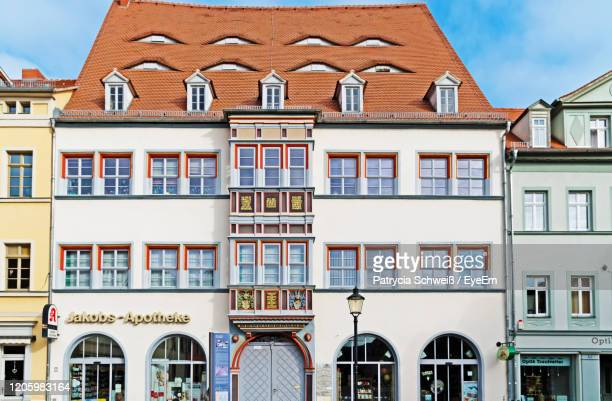 low angle view of buildings in city - saxony anhalt stock pictures, royalty-free photos & images