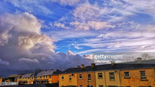 low angle view of buildings in town - town stock pictures, royalty-free photos & images