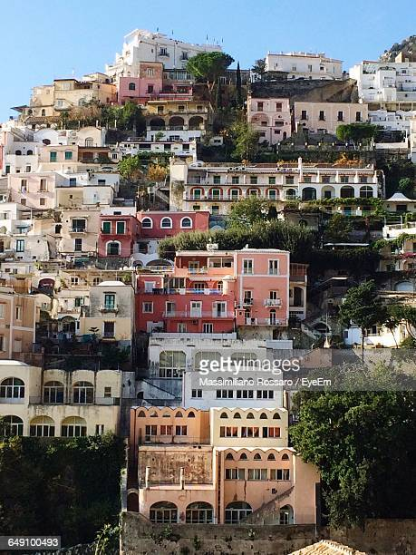 Low Angle View Of Buildings On Mountain At Positano
