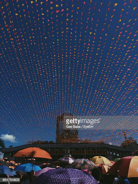 low angle view of bunting flag during sinulog-santo nino festival - sinulog festival stock photos and pictures