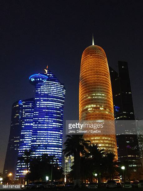 Low Angle View Of Burj Doha Tower Against Sky At Night
