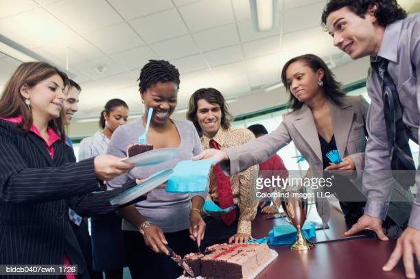 Low angle view of business executives in an office party