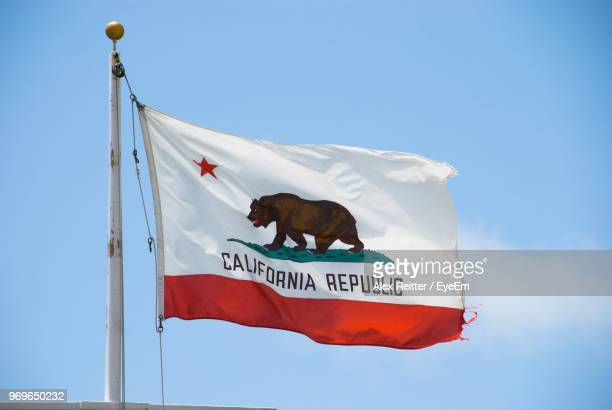 Low Angle View Of California Flag Against Clear Sky