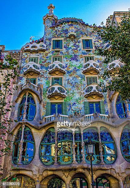 Low angle view of Casa Batllo in Barcelona, Spain