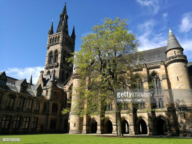 low angle view of castle against sky - glasgow scotland stock pictures, royalty-free photos & images