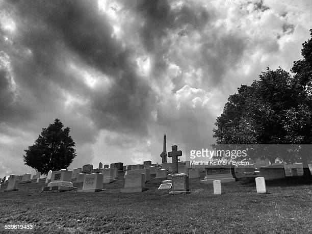 Low Angle View Of Cemetery Against Spooky Sky