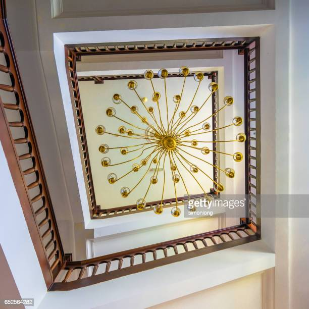 Low Angle View of Chandelier Hanging on Ceiling in Penang, Malaysia