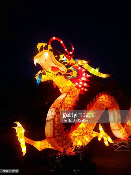 Low Angle View Of Chinese Dragon Lantern At Night