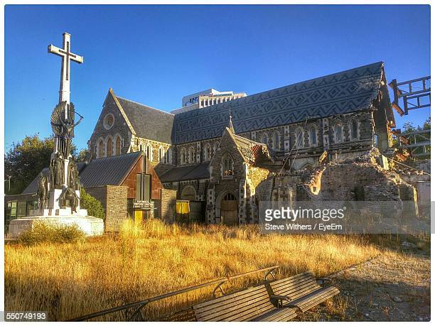 Low Angle View Of Christchurch Cathedral Against Clear Sky