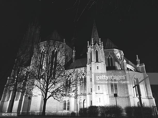 Low Angle View Of Church Against Sky At Night