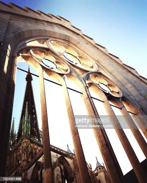 low angle view of church against sky - rouen stock pictures, royalty-free photos & images