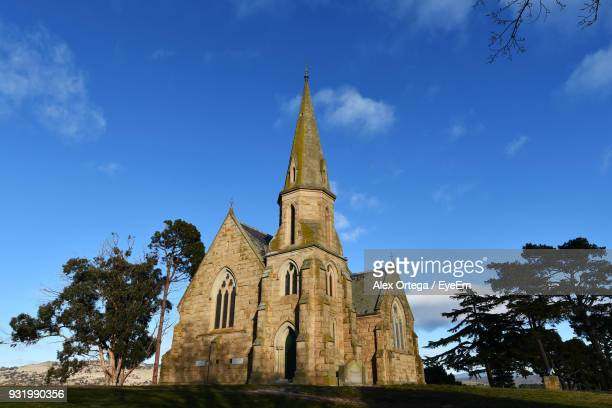 low angle view of church against sky - launceston australia stock pictures, royalty-free photos & images