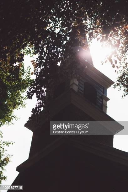 Low Angle View Of Church And Trees Against Clear Sky