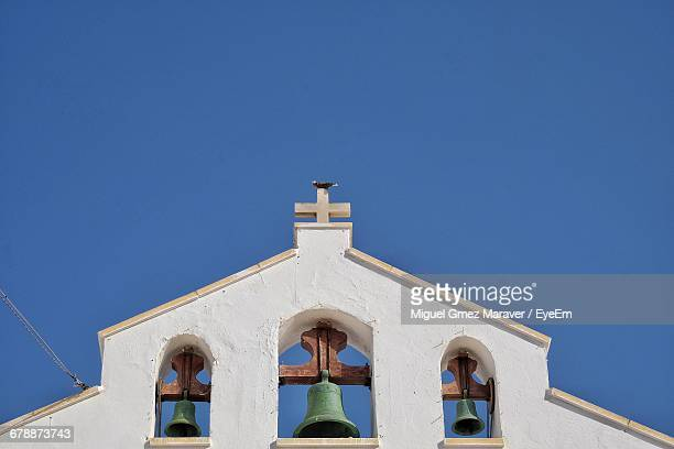 Low Angle View Of Church Bell Tower Against Clear Blue Sky