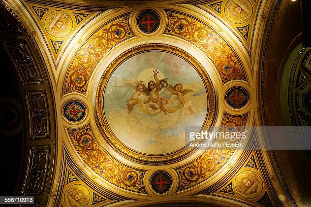 low angle view of church ceiling - andres ruffo stock-fotos und bilder