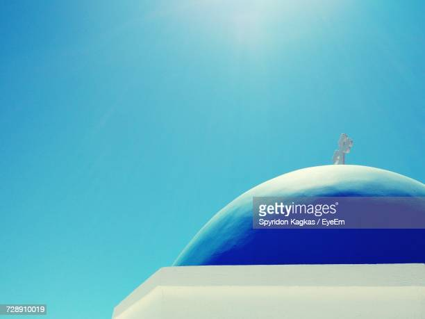 low angle view of church dome against clear blue sky - cyclades islands stock pictures, royalty-free photos & images