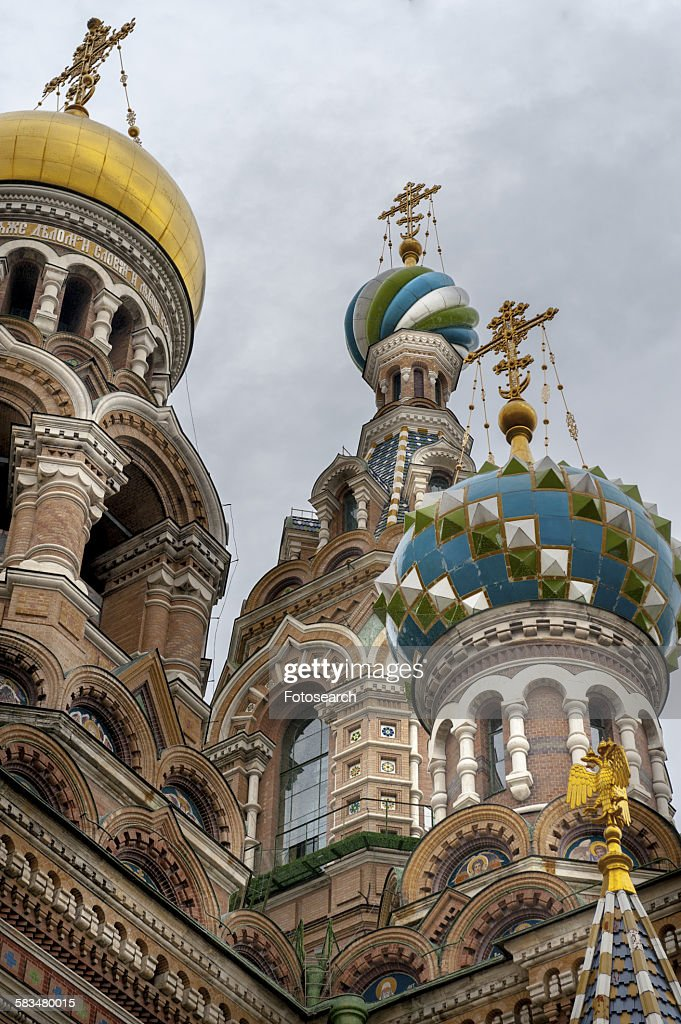 Low angle view of Church of Savior on Spilled Blood : Stock Photo