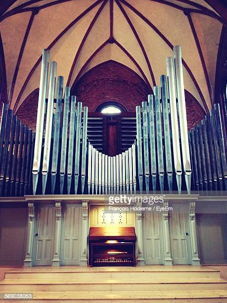 Low Angle View Of Church Pipe Organ