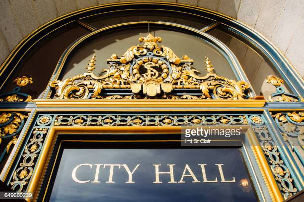 low angle view of city hall sign, san francisco, california, united states - town hall stock pictures, royalty-free photos & images