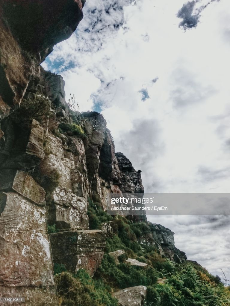 Low Angle View Of Cliff Against Sky : Stock Photo