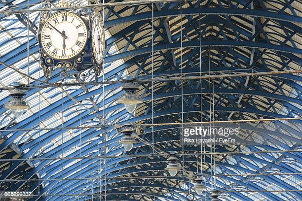 Low Angle View Of Clock At Brighton Railway Station