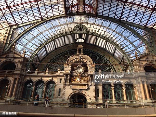 Low Angle View Of Clock In Antwerp Central Station