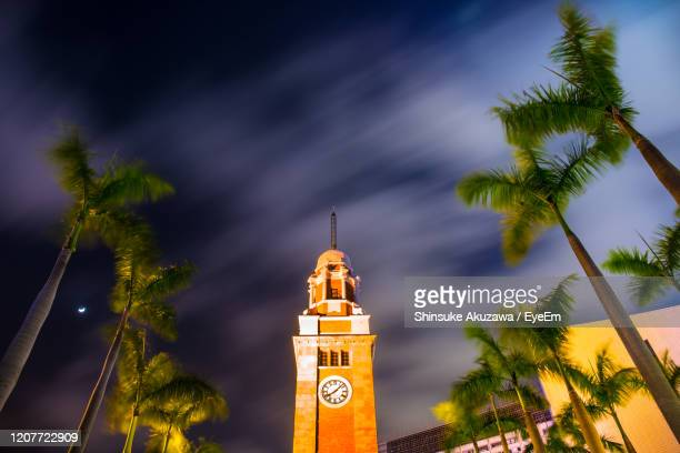 low angle view of clock tower amidst trees against sky - tsim sha tsui stock pictures, royalty-free photos & images