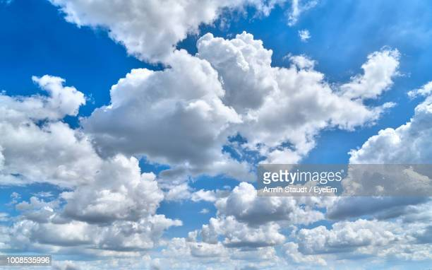 low angle view of clouds in sky - nuvens fofas imagens e fotografias de stock
