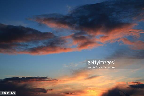 low angle view of cloudy sky during sunset - nizhny novgorod oblast stock photos and pictures