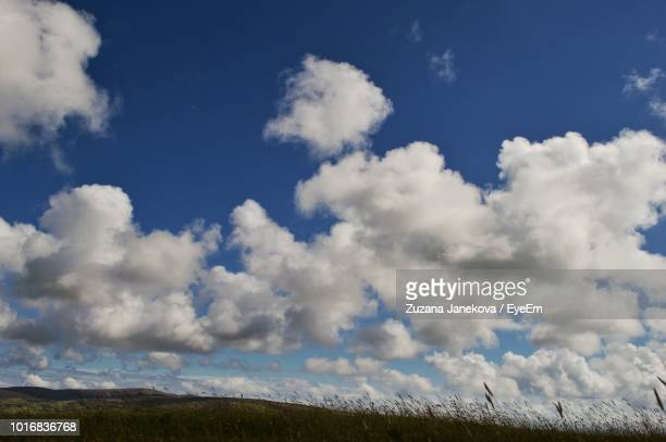 low angle view of cloudy sky over land - zuzana janekova stock pictures, royalty-free photos & images