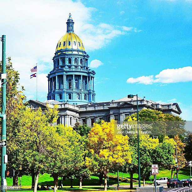 low angle view of colorado state capitol building - capital cities stock photos and pictures