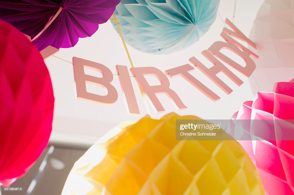Low Angle View Of Colorful Birthday Decorations Stock Photo