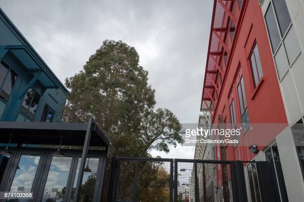 Low angle view of colorful buildings at the headquarters of social network company Facebook in Silicon Valley Menlo Park California November 10 2017