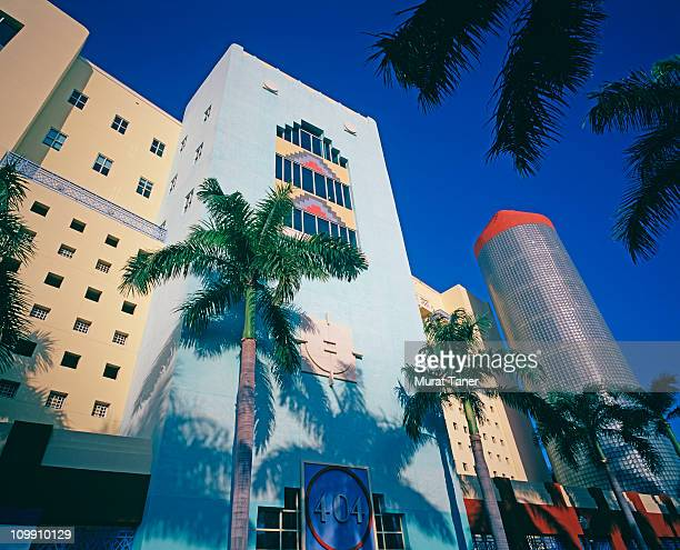 low angle view of colorful buildings - miami stock pictures, royalty-free photos & images