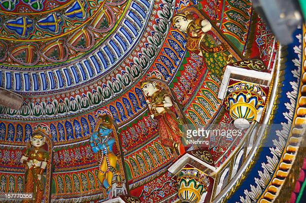 low angle view of colorful sita ram ji temple ceiling. - krishna stock photos and pictures