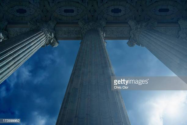 Low angle view of columned building