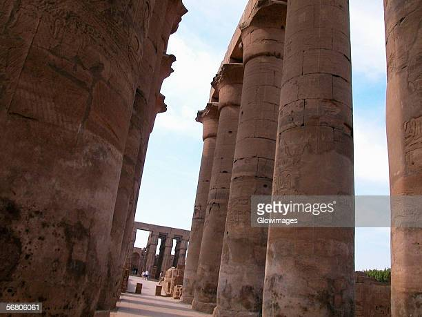 Low angle view of columns in a temple, Temples Of Karnak, Luxor, Egypt